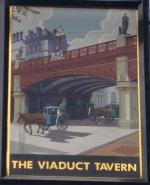 The pub sign. The Viaduct Tavern, City, Central London