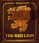 The pub sign. Red Lion, Bushey, Hertfordshire