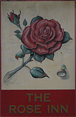The pub sign. The Rose Inn, Ashford, Kent