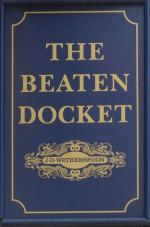 The pub sign. The Beaten Docket, Cricklewood, Greater London