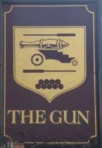 The pub sign. The Gun, Spitalfields, Central London