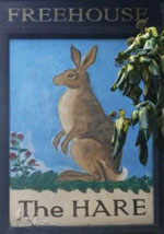 The pub sign. The Hare, Bethnal Green, Greater London