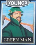 The pub sign. Green Man, Putney, Greater London