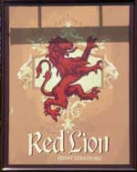 The pub sign. Red Lion, Fenny Stratford, Buckinghamshire