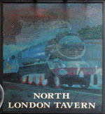 The pub sign. North London Tavern, Kilburn, Greater London