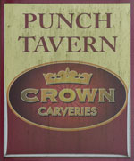 The pub sign. The Punch Tavern, Calcott, Kent