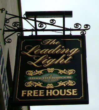 The pub sign. The Leading Light, Faversham, Kent