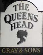 The pub sign. The Queens Head, Burnham-on-Crouch, Essex