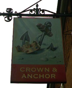 The pub sign. Crown & Anchor, Faversham, Kent