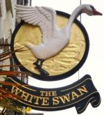 The pub sign. The White Swan, Covent Garden, Central London