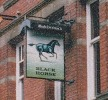 The pub sign. Black Horse, Preston, Lancashire