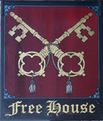 The pub sign. Cross Keys Inn, Wymondham, Norfolk