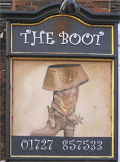 The pub sign. The Boot, St Albans, Hertfordshire
