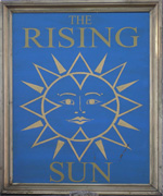 The pub sign. The Rising Sun, Kemsing, Kent