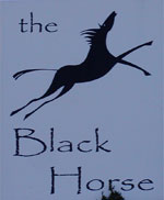 The pub sign. The Black Horse, Monks Horton, Kent