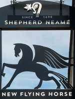 The pub sign. New Flying Horse, Wye, Kent