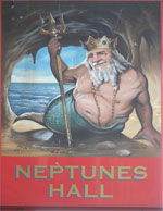 The pub sign. Neptunes Hall, Broadstairs, Kent