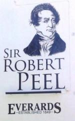 The pub sign. Sir Robert Peel, Leicester, Leicestershire
