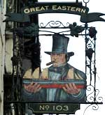 The pub sign. The Great Eastern, Brighton, East Sussex
