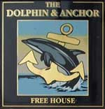 The pub sign. The Dolphin & Anchor, Chichester, West Sussex