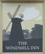 The pub sign. The Windmill Inn, Willesborough, Kent