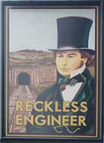 The pub sign. The Sidings (formerly Reckless Engineer), Bristol, Avon