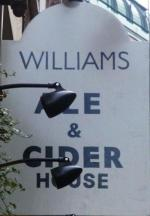 The pub sign. Williams Ale & Cider House, Spitalfields, Central London