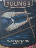 The pub sign. Watermans (formerly Watermans Arms), Richmond, Greater London