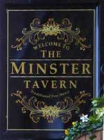 The pub sign. Minster Tavern, Ely, Cambridgeshire
