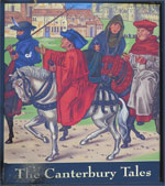 The pub sign. The Canterbury Tales, Canterbury, Kent