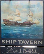 The pub sign. The Ship Tavern, Holborn, Central London