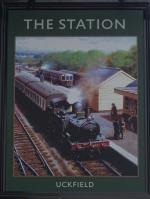 The pub sign. The Station, Uckfield, East Sussex