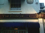 The pub sign. The Pride of Spitalfields, Spitalfields, Central London