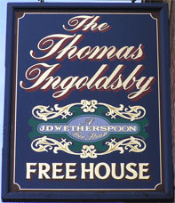 The pub sign. The Thomas Ingoldsby, Canterbury, Kent