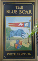 The pub sign. The Blue Boar, Billericay, Essex
