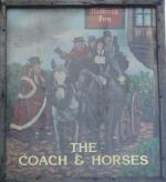 The pub sign. The Coach & Horses, Soho, Central London