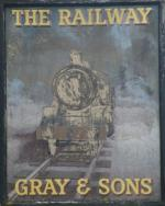 The pub sign. The Railway, Billericay, Essex