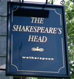 The pub sign. The Shakespeare's Head, Holborn, Central London