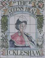 The pub sign. The Queens Head, Icklesham, East Sussex