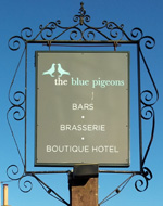 The pub sign. The Blue Pigeons, Worth, Kent
