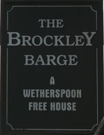 The pub sign. The Brockley Barge, Brockley, Greater London