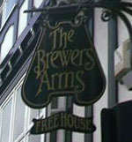 The pub sign. The Brewers Arms, Lewes, East Sussex