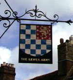 The pub sign. Lewes Arms, Lewes, East Sussex
