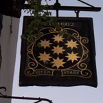 The pub sign. The Seven Stars, Aldwych, Central London