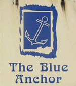 The pub sign. The Blue Anchor, Brabourne, Kent