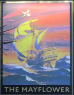 The pub sign. The Mayflower, Rotherhithe, Greater London