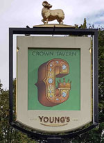 The pub sign. The Crown Tavern, Lee, Greater London