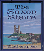 The pub sign. The Saxon Shore, Herne Bay, Kent