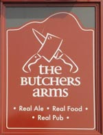 The pub sign. Butchers Arms, Woodsetts, South Yorkshire