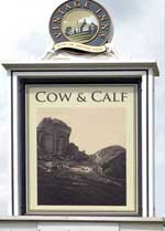 The pub sign. The Cow & Calf, Ilkley, West Yorkshire